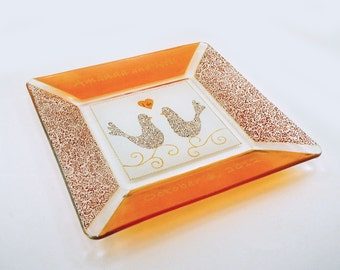 Fall wedding plate - Hand painted personalized  plate - Amber, orange and gold