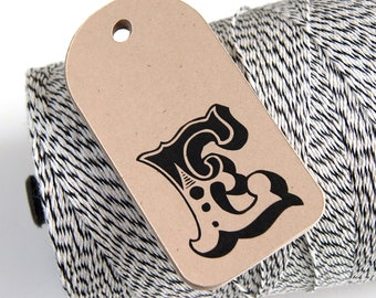 12 Monogram or Initial Tags . Personalized Circus Theme Favor Tags on KRAFT . 1.5 x 3 inches