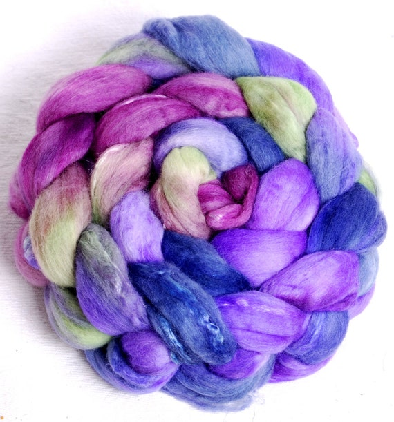100g 18.5 mic Merino and Grade A Mulberry Silk Handpainted  top roving spinning fibre