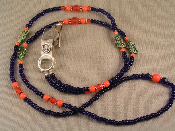 Florida Gators ID Lanyard, Blue and Orange, Beaded with Sterling Silver, Harleypaws