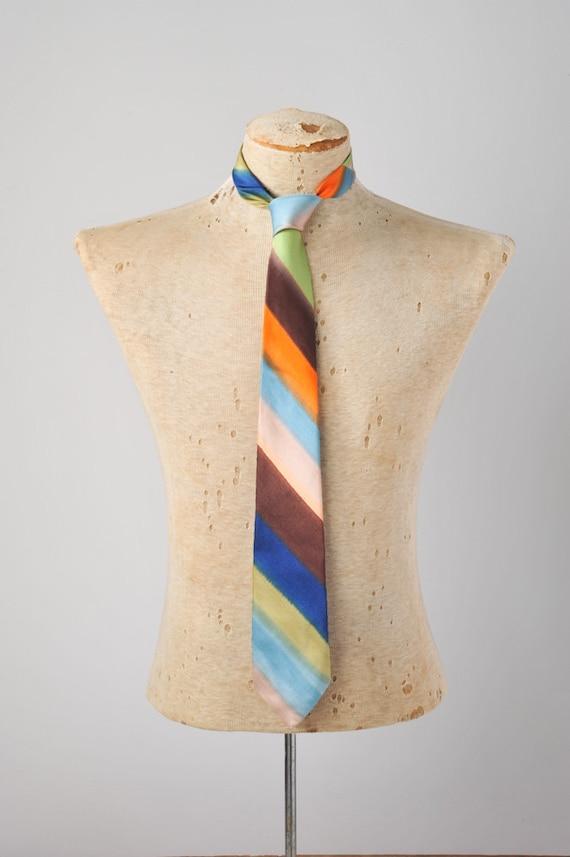 Vintage Men's Rainbow Dyed Silk Necktie - Made in Italy