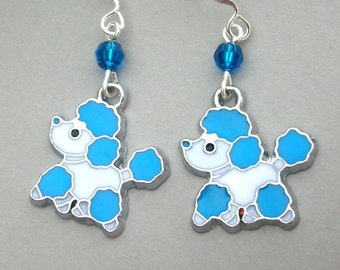 Blue poodle earrings, dog earrings, enamel blue dog earrings, Swarovski crystal, turquoise and white dog jewelry