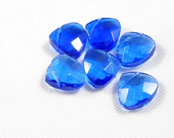 Blue Glass Teardrop Crystal Beads, faceted, 12x11x5.5mm, Hole:Approx 1mm - 3 pcs
