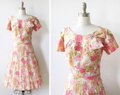 vintage 1950s dress / pink floral rhinestone 50s party dress