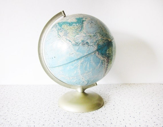 world globe / vintage Rand McNally world portrait globe