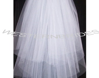 ON SALE 3  tier  elbow length wedding bridal veil veil  with silver comb ready to wear