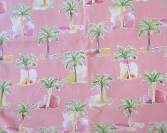 """Palms on Pink Decor Fabric from Robert Allen, 2 Yards 56"""" Wide"""