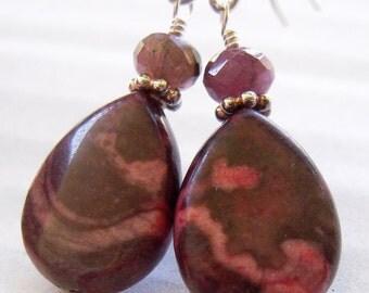 Pink Jasper Earrings, Teardrop Earrings, Gemstone Earrings, Sterling Silver, Dangle,