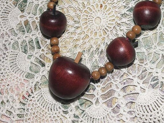 Wooden Bead Apple Necklace 30 Inch Adjustable Unique Beaded Jewelry Accessory Back to School