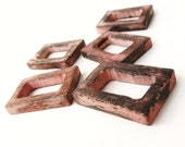 Rustic Pink Wood Rectangle Link 35mm x 25mm - Set of 5 Wooden Pendants Beads