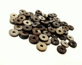 50 Wood CocoNut Shell Beads - Eco Friendly Donuts Rondelle Disk Beads 12mm  (PC206B)