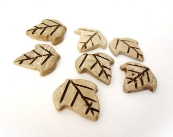 5 Coconut Shell Beads - Rustic Leaf Shape Natural Charm (PC227)