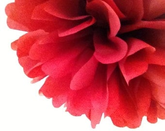 OXBLOOD / 1 tissue paper pom pom / diy / wedding decorations / ruby anniversary party / red decorations / hanging poms / aisle marker poms