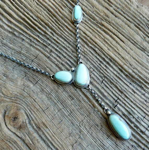 Nevada Turquoise Necklace in Oxidised Silver - Stepping Stones