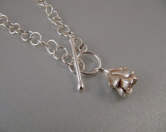 Handmade Silver Chain with Cast Sedum