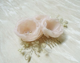 Pretty in Pink - flower headpiece - flower hair comb - bridal accessories - hair comb - flower hair comb -  bridal hair comb -  hair flower