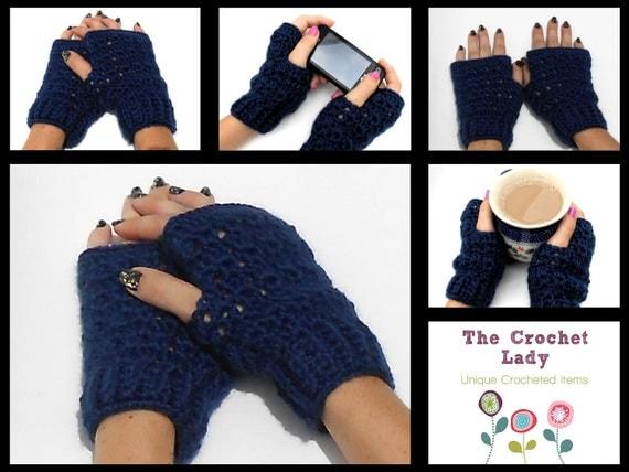 Fingerless Gloves Handwarmers, Crocheted, Navy Blue
