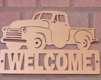 Vintage Pickup Truck WELCOME SIGN Classic Dodge Chevrolet Ford  Plaque