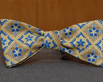 Floral in Gold and Blue  Bow Tie
