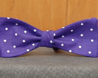 Purple with White Polka Dots  Bow Tie