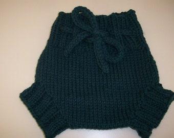 Wool Cloth Diaper Cover - Newborn Baby Handknit Dark Green Wool Soaker or Shorties with Knit Drawstring