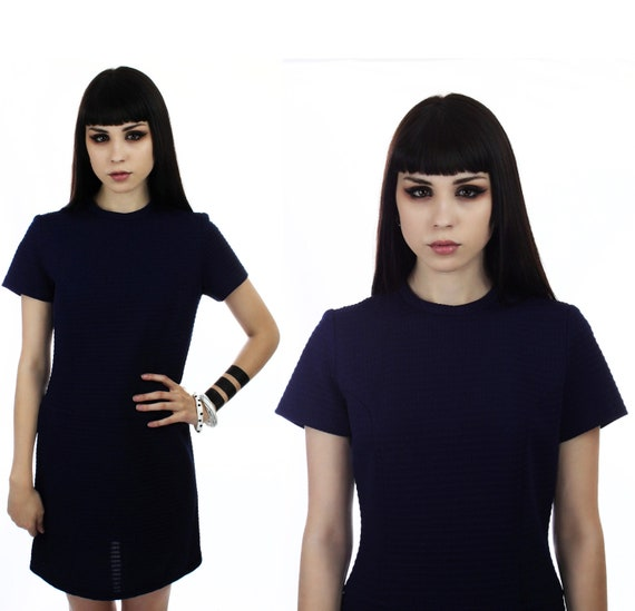 70s MOD Dress Vintage 60s 1970s Navy Blue Textured Squares Fabric 1960s Mod Mini A-Line Small XSmall S XS
