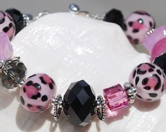 POSH PRINCESS-Handmade Lampwork and Sterling Silver Bracelet