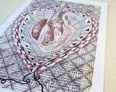 5x7 print- HEART on a STRING - anatomy print