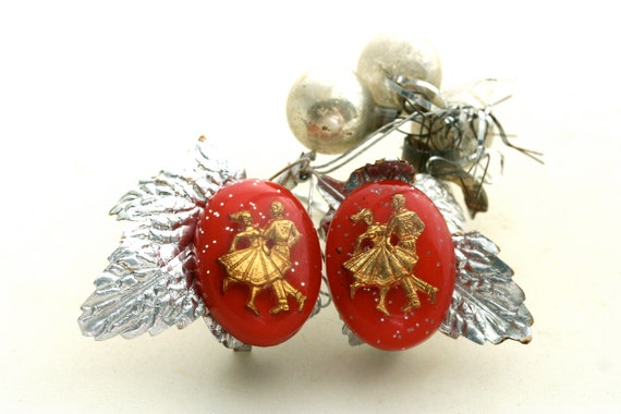 Do Sa Do your Partner - Vintage Red Earrings - Red and Gold - Lucite - Valentine