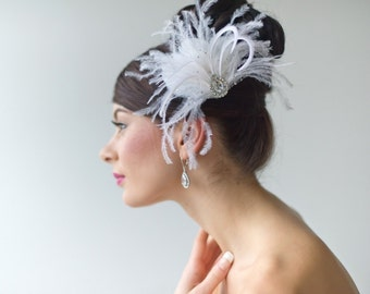 Fascinator, Feather Fascinator, Bridal Fascinator, Feather Hair Clip, Head Piece, Wedding Hair Accessory - RILEY