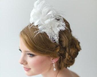 Gatsby Wedding Fascinator, Bridal Fascinator, Head Piece, Wedding Hair Accessory, Diamond White Feather Fascinator - ERIN