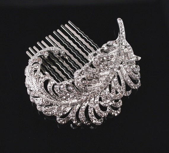 Bridal Brooch or Comb,  Wedding Head Piece,  Crystal Feather Hair Comb