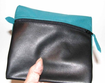 Teal Blue-Green & Black Lambskin Zipper Pouch Bag Organizer Everything Case Handmade