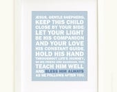 Bless Him Always 8x10 art print prayer in blue and white
