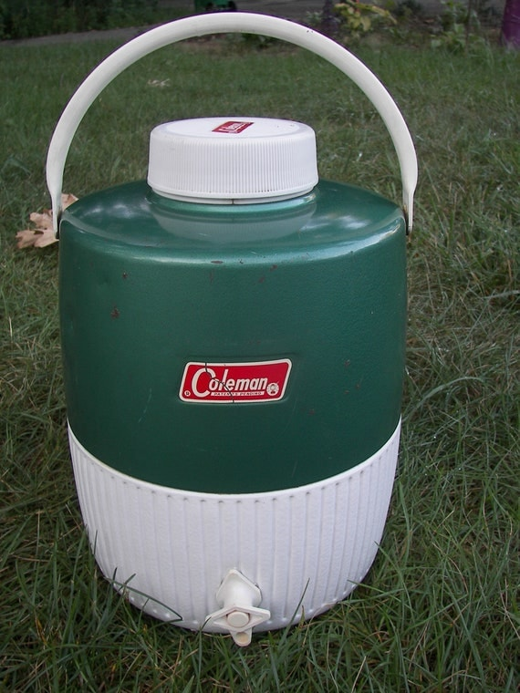 Vintage Coleman Water Cooler Jug 3 Gallon Green And White