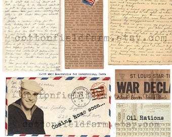 WW2 Memorabilia Letters, Ration Stamps, 1940s  C-331 Digital Collage, Tags, Scrapbooking for Personal and Commercial Use