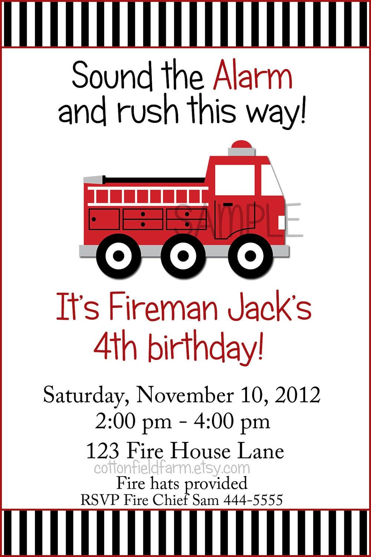 Fire Truck Invitation as good invitation template