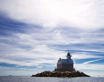 Connecticut's Penfield Reef Lighthouse Photo - 8x10 Color Nautical Landscape Photography Print - New England Art