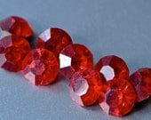 12  Vintage Czech New Old Stock Siam Red 6 mm Rhinestone Round Chaton Pointed Foiled Back