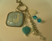 Purse - Phone - Rear View Mirror / Charm /  Large Heavy Duty Clasp / Blue Bird with silver accents