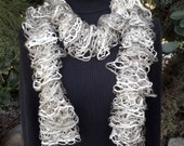 Elegant Ruffle Scarf in Neutral Shades of White and Beiges. lacy soft and lightweight