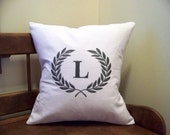 laurel wreath embroidered pillow - monogram - white canvas - olive green - leaf - custom - personalized pillow cover - personali
