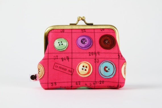 Deep dad - Colorful buttons on pink  - metal frame purse
