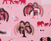 Peacock Lane Parade Day Pink Elephants Fabric by Violet Craft for Michael Miller Fabrics  - 1 yard