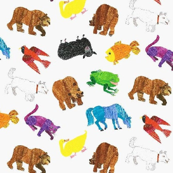 Brown Bear Brown Bear What Do You See Tossed Painted Animals Multi Color Fabric by Eric Carle for Andover Fabrics - 1 yard
