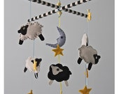 Black and White Sleepy Sheep Mobile--Baby Crib Mobile--Sheep Mobile
