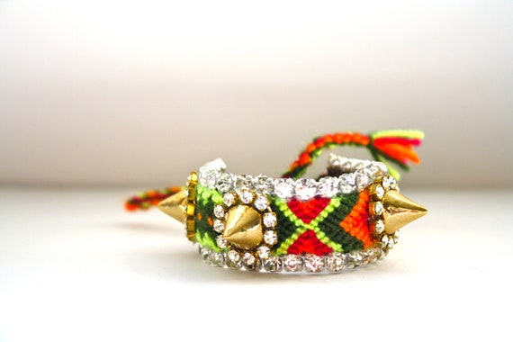 SALE- Mini Frienemy Bracelet- Ready to Ship as is (Red, Green & Orange with Gold Spikes)