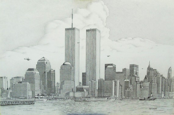 items similar to new york skyline with the world trade