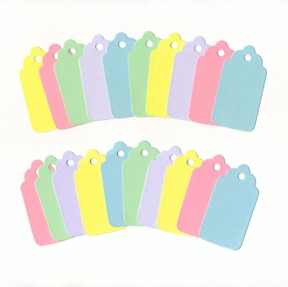 BULK - Pastel Collection Medium Scallop Die Cut Gift Hang Tags (100) Favor Tags