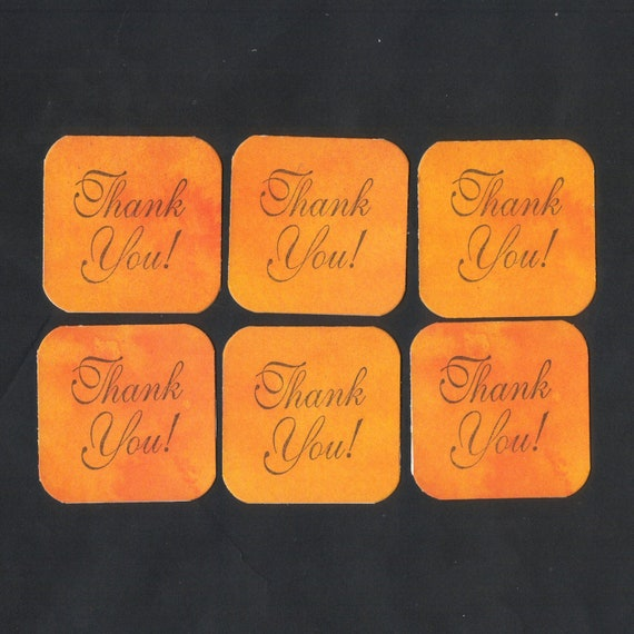 Mini Note Cards Clearance SALE - Orange Watercolor Thank You Mini Notes (set of 6) Ready To Ship